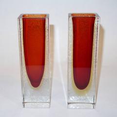 1950 Italian Pair of Organic Crystal Yellow Red Murano Art Glass Flower Vases - 552120
