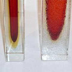 1950 Italian Pair of Organic Crystal Yellow Red Murano Art Glass Flower Vases - 552121