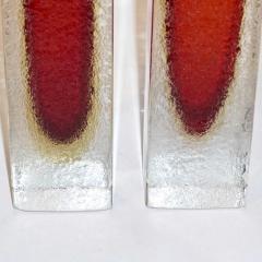 1950 Italian Pair of Organic Crystal Yellow Red Murano Art Glass Flower Vases - 552122