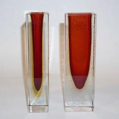 1950 Italian Pair of Organic Crystal Yellow Red Murano Art Glass Flower Vases - 552123