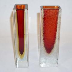 1950 Italian Pair of Organic Crystal Yellow Red Murano Art Glass Flower Vases - 552124
