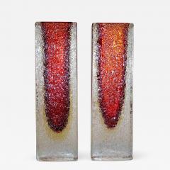 1950 Italian Pair of Organic Crystal Yellow Red Murano Art Glass Flower Vases - 552570