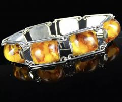 1950 s Baltic Amber and Silver Bracelet Germany C 1950 Fischland - 2015295