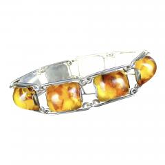 1950 s Baltic Amber and Silver Bracelet Germany C 1950 Fischland - 2017234