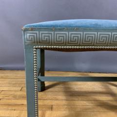 1950s American Modern Leather Clad Bench Greek Key Design - 1681367