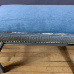 1950s American Modern Leather Clad Bench Greek Key Design - 1681370