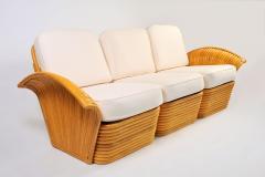 1950s American rattan sofa matching armchairs  - 734900