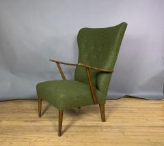 1950s Danish Highback Lounge Chair New Felted Wool Upholstery - 1819233