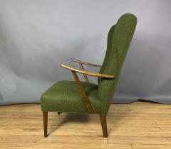 1950s Danish Highback Lounge Chair New Felted Wool Upholstery - 1819234