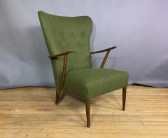 1950s Danish Highback Lounge Chair New Felted Wool Upholstery - 1819235