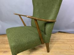 1950s Danish Highback Lounge Chair New Felted Wool Upholstery - 1819236