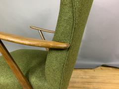 1950s Danish Highback Lounge Chair New Felted Wool Upholstery - 1819237