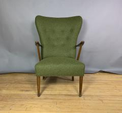 1950s Danish Highback Lounge Chair New Felted Wool Upholstery - 1819238