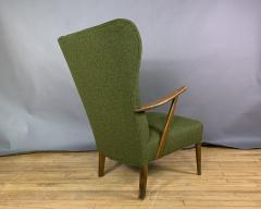 1950s Danish Highback Lounge Chair New Felted Wool Upholstery - 1819239