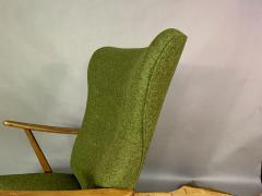 1950s Danish Highback Lounge Chair New Felted Wool Upholstery - 1819240
