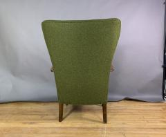 1950s Danish Highback Lounge Chair New Felted Wool Upholstery - 1819241