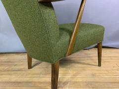 1950s Danish Highback Lounge Chair New Felted Wool Upholstery - 1819242