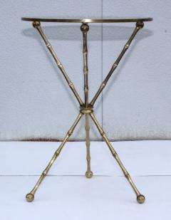 1950s Faux Bamboo Solid Brass Tripod Side Table - 1340990