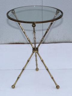 1950s Faux Bamboo Solid Brass Tripod Side Table - 1340991
