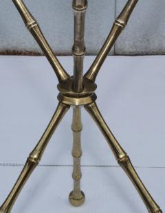 1950s Faux Bamboo Solid Brass Tripod Side Table - 1340992