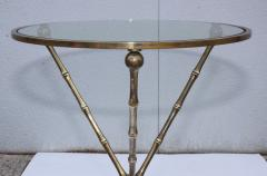 1950s Faux Bamboo Solid Brass Tripod Side Table - 1340993