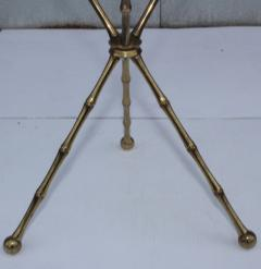 1950s Faux Bamboo Solid Brass Tripod Side Table - 1340994