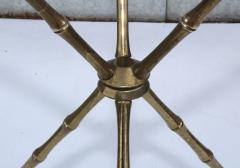 1950s Faux Bamboo Solid Brass Tripod Side Table - 1340998
