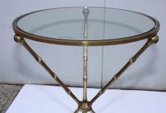 1950s Faux Bamboo Solid Brass Tripod Side Table - 1341004