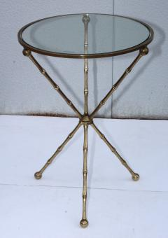 1950s Faux Bamboo Solid Brass Tripod Side Table - 1341005
