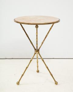 1950s Faux Bamboo Solid Brass Tripod Side Table - 1528463