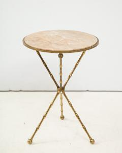 1950s Faux Bamboo Solid Brass Tripod Side Table - 1528464