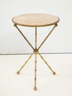 1950s Faux Bamboo Solid Brass Tripod Side Table - 1528465