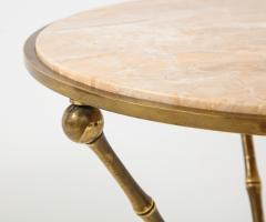 1950s Faux Bamboo Solid Brass Tripod Side Table - 1528470