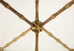 1950s Faux Bamboo Solid Brass Tripod Side Table - 1528471