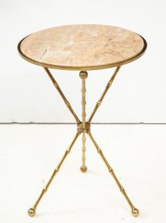 1950s Faux Bamboo Solid Brass Tripod Side Table - 1528472