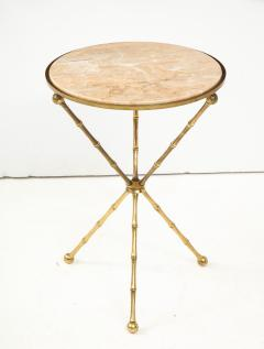1950s Faux Bamboo Solid Brass Tripod Side Table - 1528473