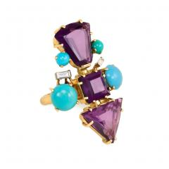 1950s French Gold Fancy Cut Amethyst Turquoise and Diamond Cocktail Ring - 1499613