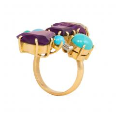 1950s French Gold Fancy Cut Amethyst Turquoise and Diamond Cocktail Ring - 1499615
