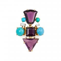 1950s French Gold Fancy Cut Amethyst Turquoise and Diamond Cocktail Ring - 1500366
