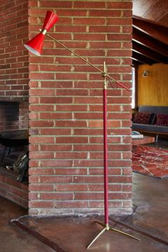 1950s French Red Articulating Floor Lamp - 1031767