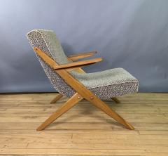 1950s French Scissor Leg Upholstered Lounge Chair - 1777938