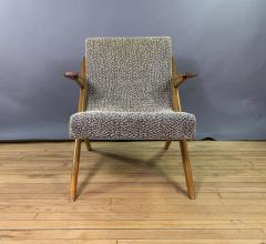 1950s French Scissor Leg Upholstered Lounge Chair - 1777939