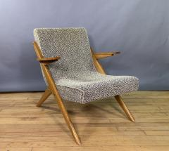 1950s French Scissor Leg Upholstered Lounge Chair - 1777940