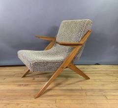 1950s French Scissor Leg Upholstered Lounge Chair - 1777941