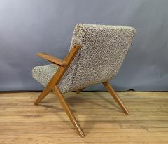 1950s French Scissor Leg Upholstered Lounge Chair - 1777943