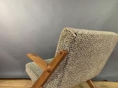 1950s French Scissor Leg Upholstered Lounge Chair - 1777944