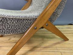 1950s French Scissor Leg Upholstered Lounge Chair - 1777945