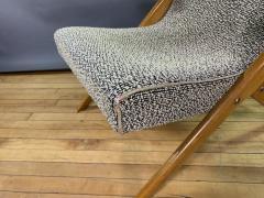 1950s French Scissor Leg Upholstered Lounge Chair - 1777946