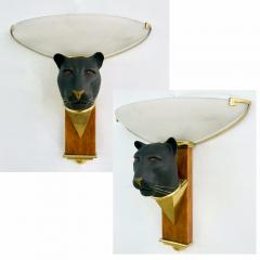 1950s Italian Art Deco Pair of Black Panther Bronze Frosted Glass Wall Lights - 2076278