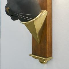 1950s Italian Art Deco Pair of Black Panther Bronze Frosted Glass Wall Lights - 2076279